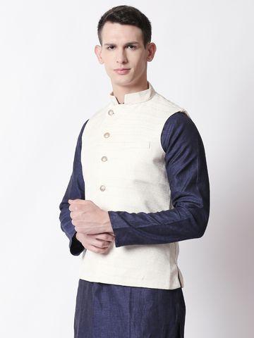 Ethnicity | Ethnicity Ivory Polyester Blend Men Jackets