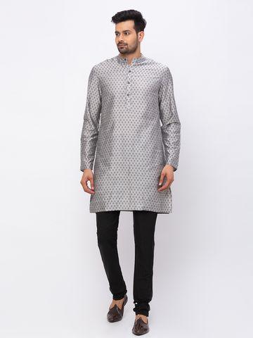 Ethnicity | Ethnicity Art Silk Straight Full Sleeve Men Grey Kurta