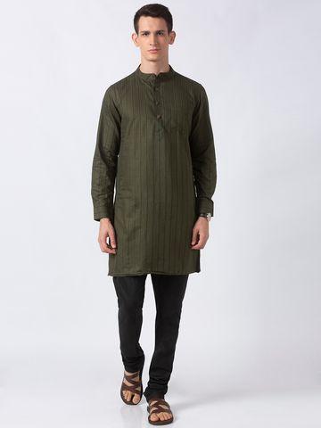 Ethnicity | Ethnicity Militry Green Polyester Cotton Men Kurta