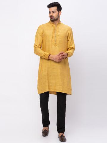 Ethnicity   Ethnicity Polyester Blend Straight Full Sleeve Men Ocher Kp Set