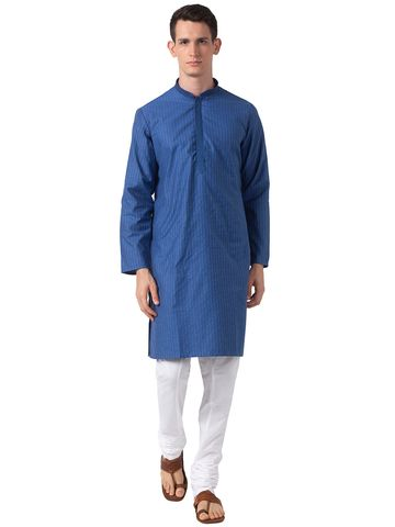 Ethnicity | Ethnicity Navy Polyester Blend Men Kurta