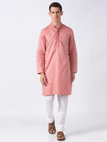 Ethnicity   Ethnicity Dusty Pink Polyester Blend Men Kurta