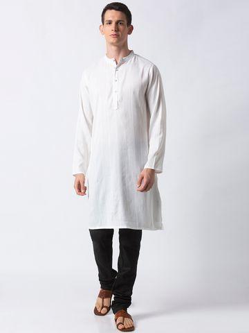 Ethnicity | Ethnicity White Polyester Blend Men Kurta