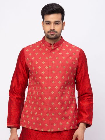 Ethnicity | Ethnicity Men Occasion Polyester Blend Full Sleeve Maroon Kp Set