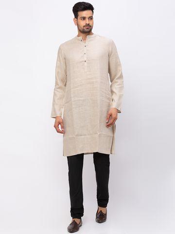 Ethnicity   Ethnicity Linen Straight Full Sleeve Men Beige Kurta