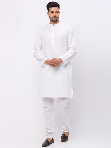 Ethnicity | Ethnicity Linen Straight Full Sleeve Men White Kurta
