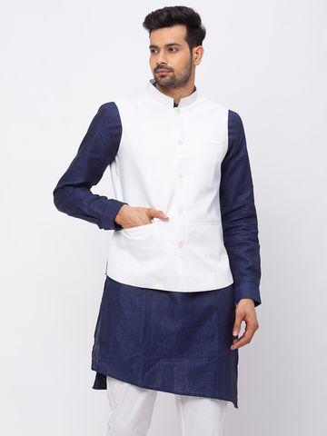 Ethnicity | Ethnicity Linen Straight Sleeveless Men White Jackets