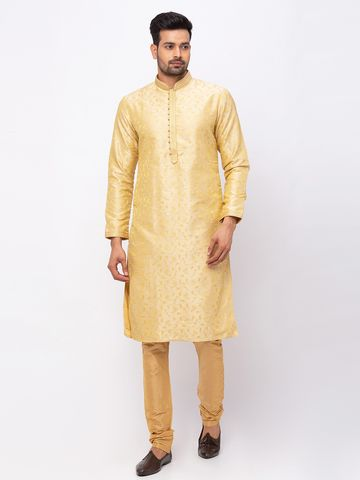 Ethnicity | Ethnicity Polyester Straight Full Sleeve Men Fawn Kp Set