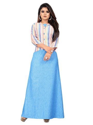 SATIMA | Flamboyant Blue Party Wear Solid Gown With Jacket