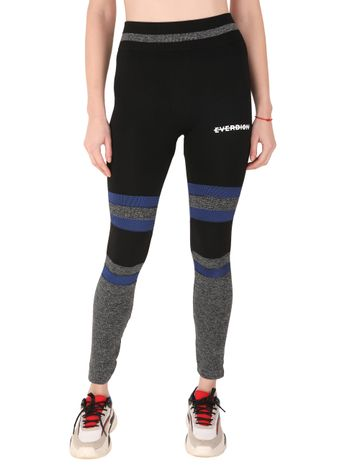 EVERDION | Black Color Block Sports Leggings