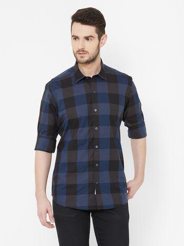 EVOQ | EVOQ Blue Full Sleeves Cotton Checks Shirt for Men