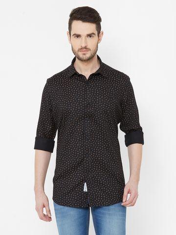 EVOQ | EVOQ Black Printed Cotton Full Sleeve Shirt for Men