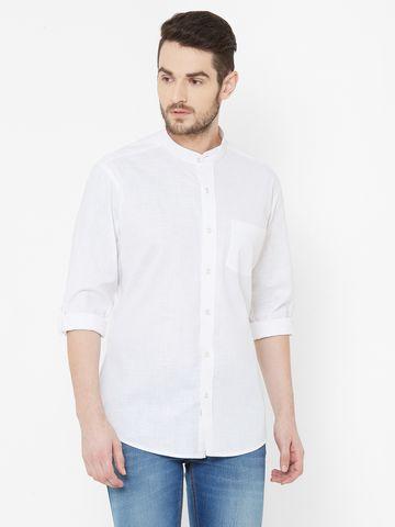 EVOQ | EVOQ White Full Sleeves Mandarin Collar Cotton-Linen Shirt for Men