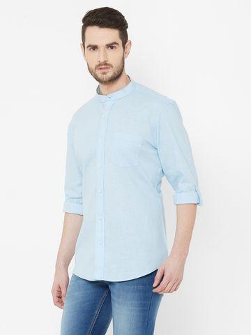 EVOQ   EVOQ Sky Blue Full Sleeves Mandarin Collar Cotton-Linen Shirt for Men
