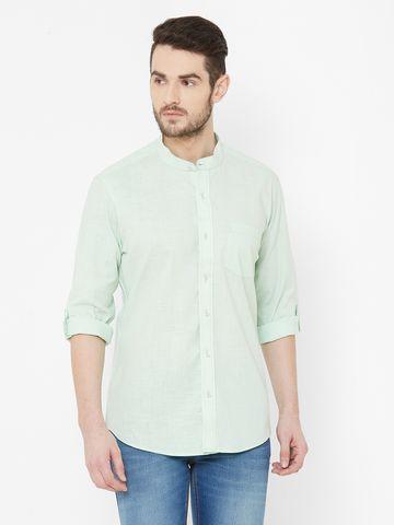 EVOQ   EVOQ Mint Green Full Sleeves Mandarin Collar Cotton-Linen Shirt for Men