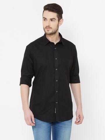 EVOQ | EVOQ Black Cotton Full Sleeves Shirt for Men