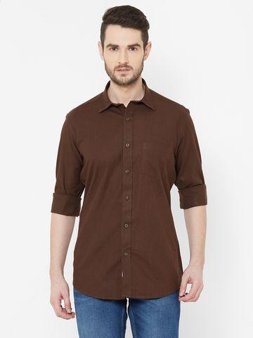 EVOQ   EVOQ Brown Cotton-Linen Full Sleeves Shirt for Men