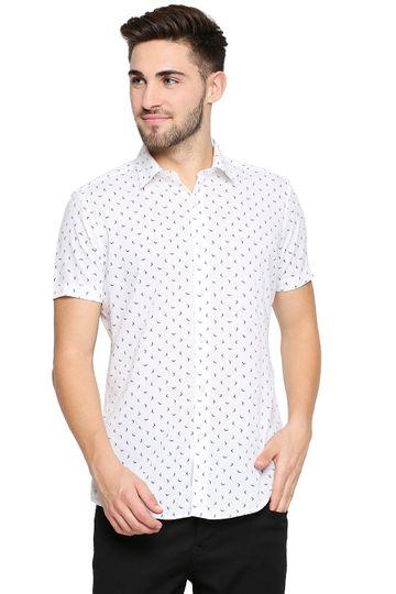 EVOQ | EVOQ Half Sleeves Cotton White Printed Semi-Casual Shirt for Men