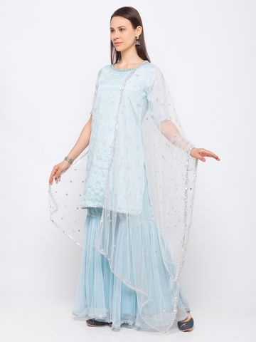 Ethnicity | Ethnicity Poly Chiffon Flared Elbow Sleeve Women Sky Blue Skd