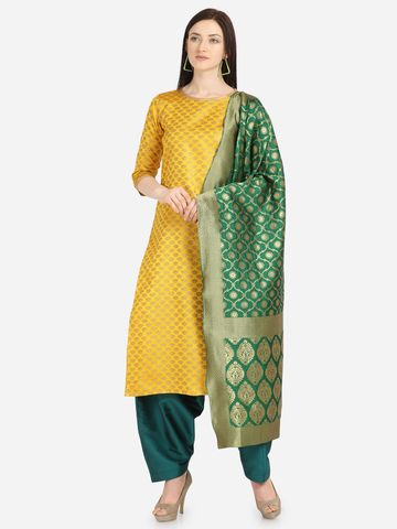 SATIMA | SatimaYellowWeavingWeavingJaquardDressMaterial