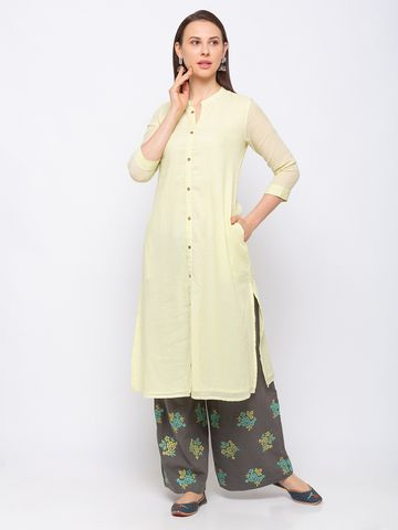 Ethnicity | Ethnicity Cotton A Line Women Mint Green Kurta