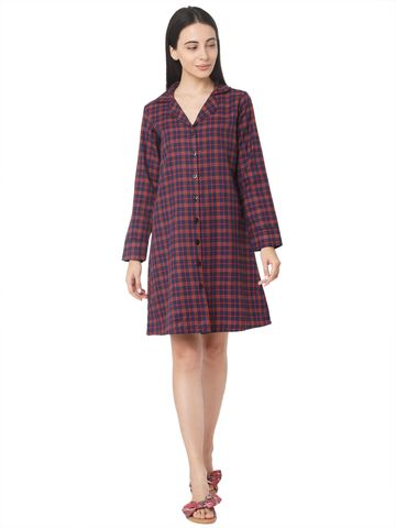 Smarty Pants | Smarty Pants women's cotton blue checkered lapel collar button down nightdress
