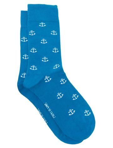 Mint & Oak | Mint & Oak Anchorman Blue Calf Length Socks for Men