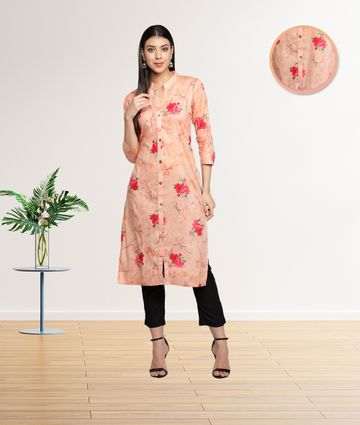 Fabclub | Fabclub Cambric Cotton Floral Printed Straight Ladies Kurti (Peach Pink)