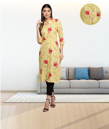 Fabclub | Fabclub Cambric Cotton Floral Printed Straight Ladies Kurti (Golden Yellow)