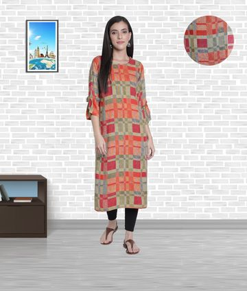 Fabclub | Fabclub Women's Heavy Rayon Boat Neck Stylish Bell Flared Sleeves Printed Kurti (MultiColor)