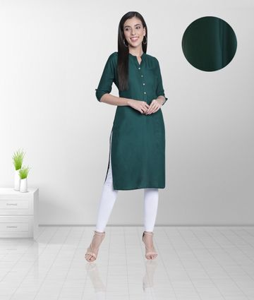 Fabclub | Fabclub Women's Rayon Solid Plain Straight Kurti (Dark Green)