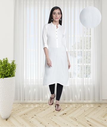 Fabclub | Fabclub Women's Rayon Solid Plain Straight Kurti (Off White)