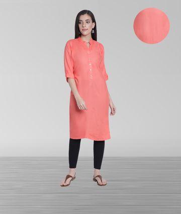 Fabclub | Fabclub Women's Rayon Solid Plain Straight Kurti (Peach)