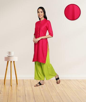 Fabclub | Fabclub Women's Rayon Solid Plain Straight Kurti (Pink)