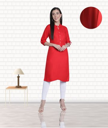 Fabclub | Fabclub Women's Rayon Solid Plain Straight Kurti (Red)