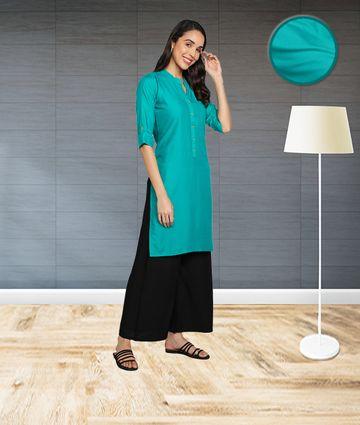 Fabclub | Fabclub Women's Rayon Solid Plain Straight Kurti (Turquoise)