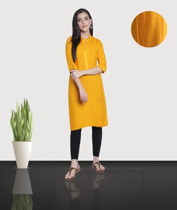 Fabclub | Fabclub Women's Rayon Solid Plain Straight Kurti (Yellow)