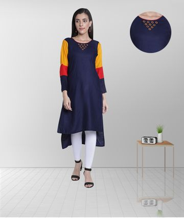 Fabclub | Fabclub Women's Rayon High Low Plain Straight Kurti (Navy Blue)