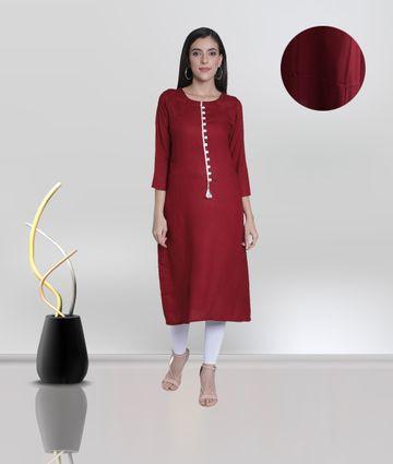 Fabclub | Fabclub Women's Rayon Solid Plain A-Line Asymmetric Designer Kurti (Maroon)