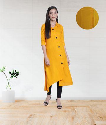 Fabclub | Fabclub Women's Rayon Solid Plain Asymmetric A-Line Designer Kurti (Mustard Yellow)