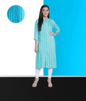 Fabclub | Fabclub Women Rayon Striped Straight Kurti (Turquoise)