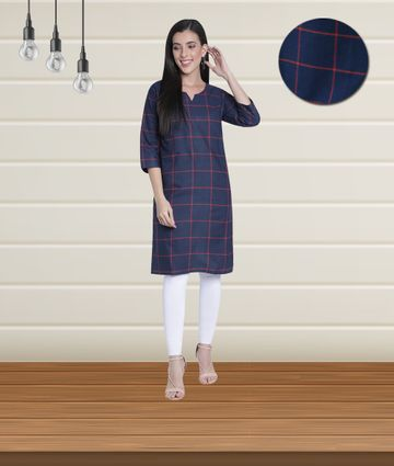 Fabclub | Fabclub Women Cotton Checks Straight Kurti (Navy Blue)