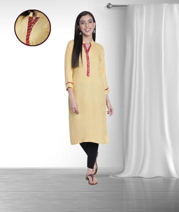 Fabclub | Fabclub Women Rayon Solid Plain Straight Designer Kurti (Beige)