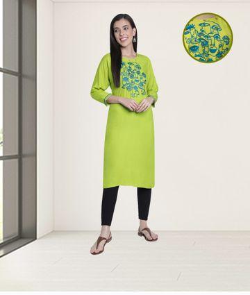Fabclub | Fabclub Rayon Embroidered Straight Women Kurti (Lime Green)
