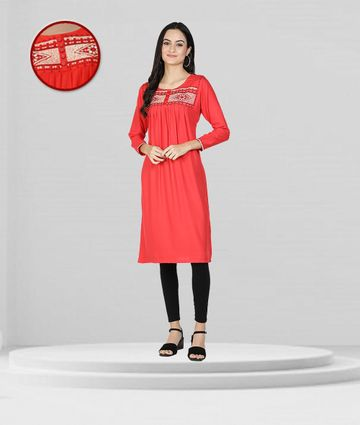 Fabclub | Fabclub Rayon Embroidered Pleated Flared Women Kurti (Red)