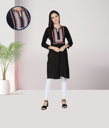 Fabclub | Fabclub Rayon Embroidered Straight Women Kurti (Black)