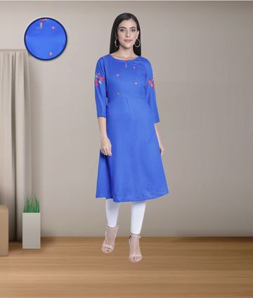 Fabclub | Fabclub Rayon Embroidered Flared Women Kurti (Blue)
