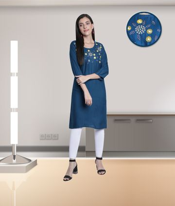 Fabclub | Fabclub Rayon Embroidered Straight Women Kurti (Teal)