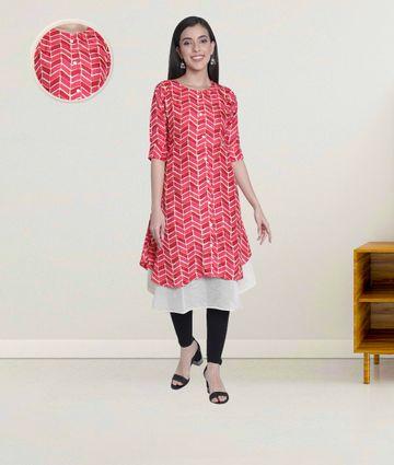 Fabclub | Fabclub Women Double Layered MultiColor Designer Kurti (Pink)