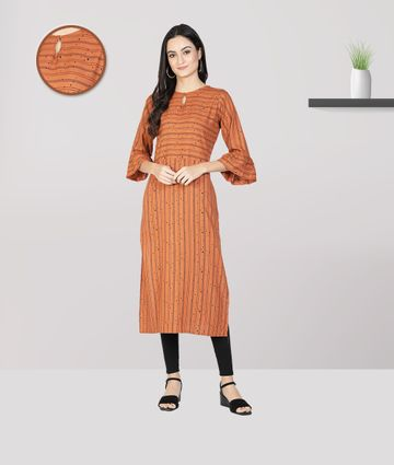 Fabclub | Fabclub Women Heavy Rayon A-Line Striped Kurti (Orange)